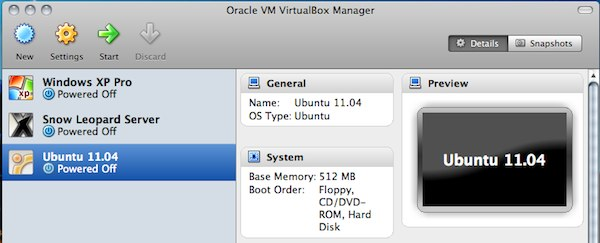 「VirtualBox 4.0」の「VirtualBox Manager」